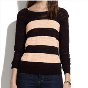 Madewell XS Cream & Black Wide Striped Sweater